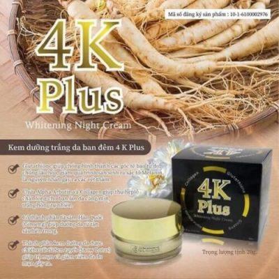 Kem Dưỡng Trắng Da Mặt 4K PLUS Whitening Night Cream Thái Lan